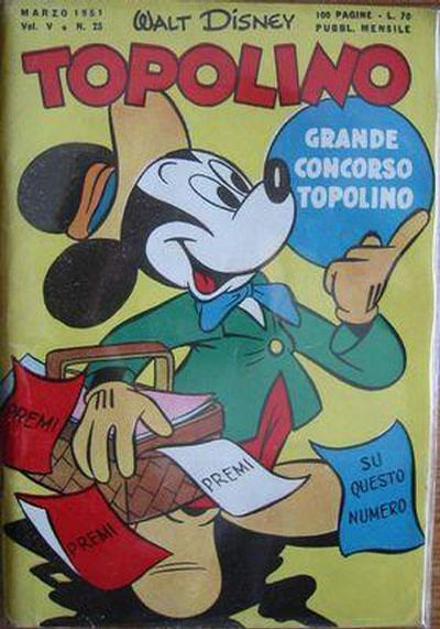 Cover for Topolino (Arnoldo Mondadori Editore, 1949 series) #25