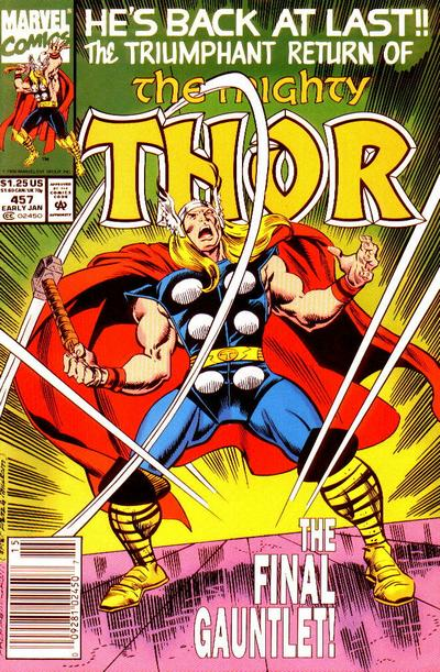 Cover for Thor (Marvel, 1966 series) #457 [Newsstand]