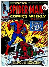 Cover Thumbnail for Spider-Man Comics Weekly (Marvel UK, 1973 series) #34