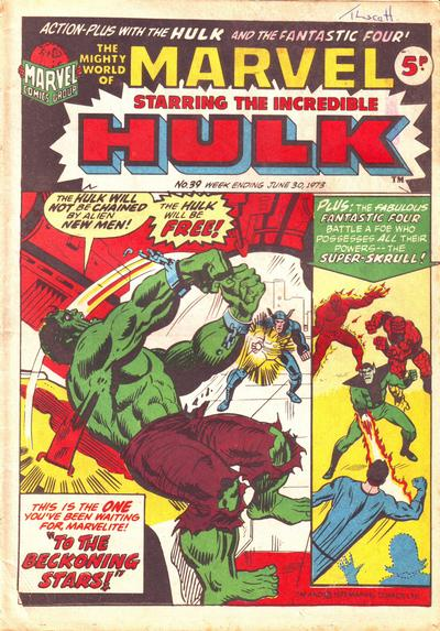 Cover for The Mighty World of Marvel (Marvel UK, 1972 series) #39