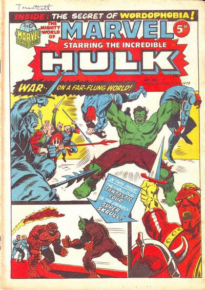 Cover for The Mighty World of Marvel (Marvel UK, 1972 series) #40