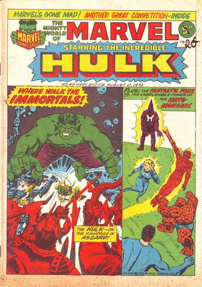 Cover for The Mighty World of Marvel (Marvel UK, 1972 series) #45