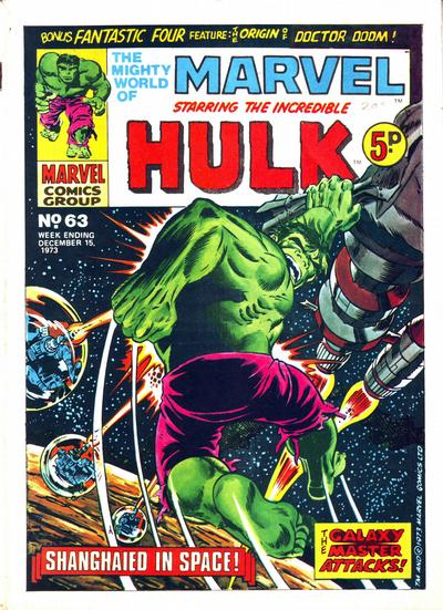 Cover for The Mighty World of Marvel (Marvel UK, 1972 series) #63