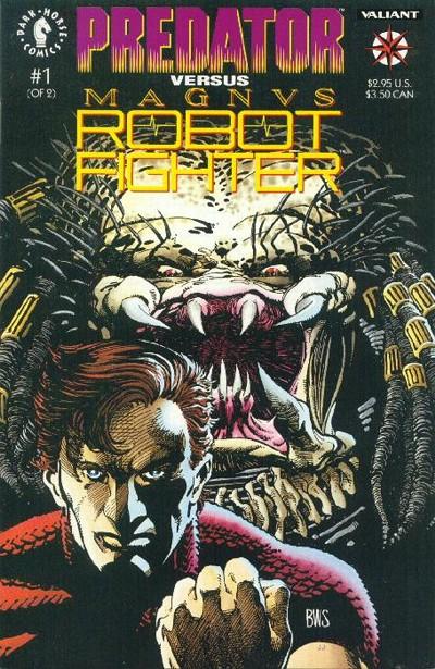 Cover for Predator vs. Magnus Robot Fighter (Dark Horse, 1992 series) #1 [Platinum Edition]