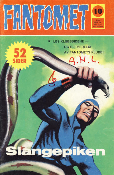Cover for Fantomet (Nordisk Forlag, 1973 series) #10/1974