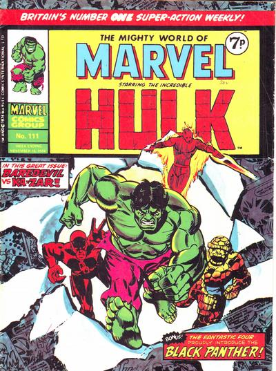 Cover for The Mighty World of Marvel (Marvel UK, 1972 series) #111