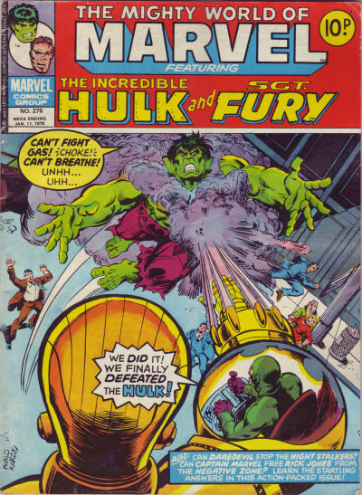 Cover for The Mighty World of Marvel (Marvel UK, 1972 series) #276