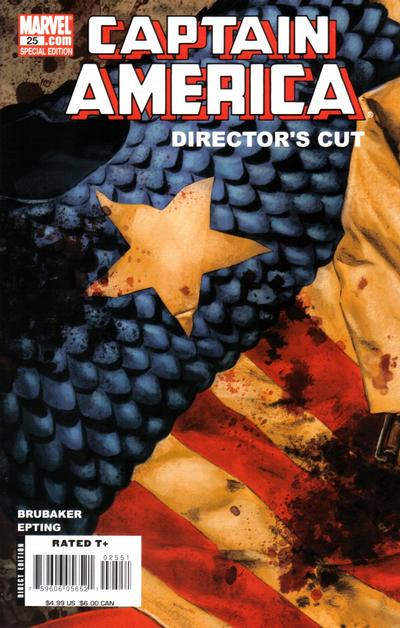 Cover for Captain America (Marvel, 2005 series) #25 Director's Cut [Newsstand]