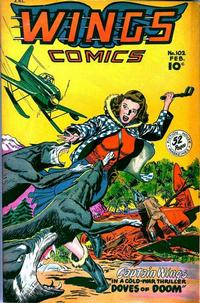 Cover Thumbnail for Wings Comics (Fiction House, 1940 series) #102