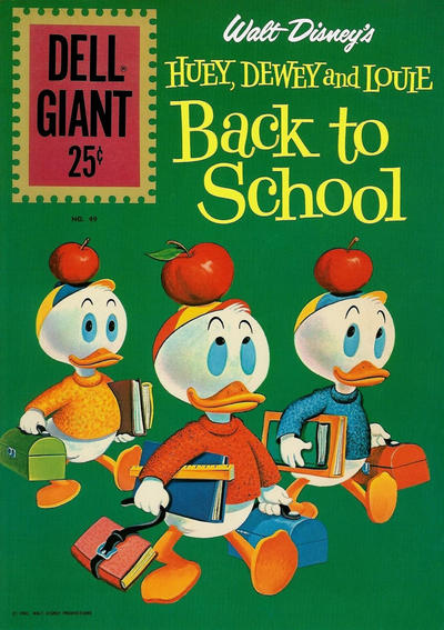 Cover for Dell Giant (Dell, 1959 series) #49 - Walt Disney's Huey, Dewey and Louie Back to School