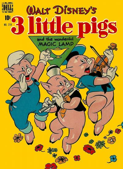 Cover for Four Color (Dell, 1942 series) #218 - Walt Disney's 3 Little Pigs and the Wonderful Magic Lamp