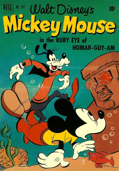 Cover for Four Color (Dell, 1942 series) #343 - Walt Disney's Mickey Mouse in The Ruby Eye of Homar-guy-am