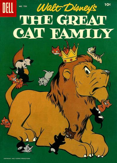 Cover for Four Color (Dell, 1942 series) #750 - Walt Disney's The Great Cat Family
