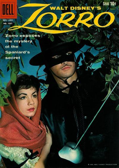Cover for Four Color (Dell, 1942 series) #1037 - Walt Disney's Zorro