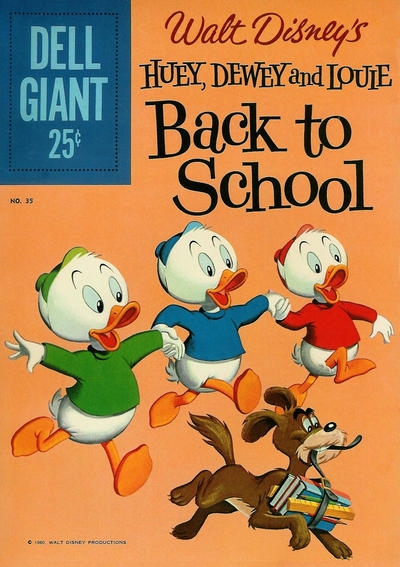 Cover for Dell Giant (Dell, 1959 series) #35 - Walt Disney's Huey, Dewey, and Louie Back to School