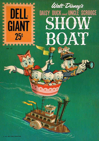 Cover for Dell Giant (Dell, 1959 series) #55 - Walt Disney's Daisy Duck and Uncle Scrooge Showboat
