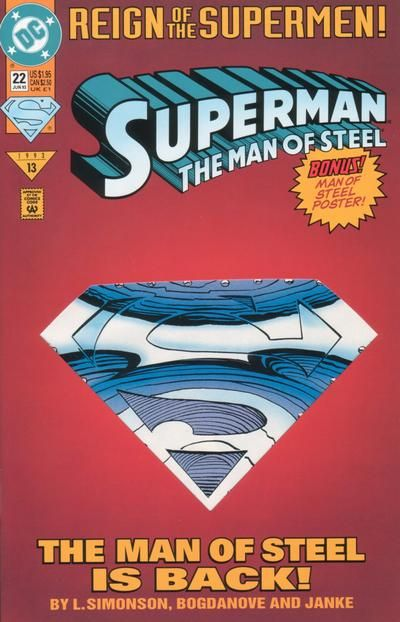 Cover for Superman: The Man of Steel (DC, 1991 series) #22 [Die-Cut Cover Edition]