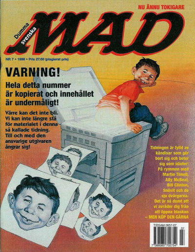 Cover for Svenska Mad (Atlantic Förlags AB, 1997 series) #7/1998