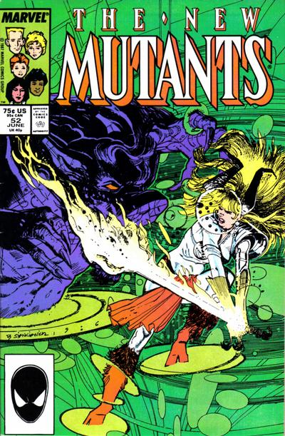 Cover for The New Mutants (Marvel, 1983 series) #52 [Direct Edition]