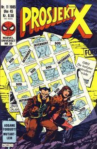 Cover Thumbnail for Prosjekt X (Semic, 1984 series) #11/1985