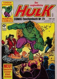 Cover Thumbnail for Der unglaubliche Hulk (Condor, 1980 series) #21