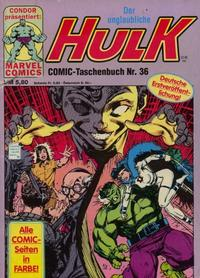 Cover Thumbnail for Der unglaubliche Hulk (Condor, 1980 series) #36