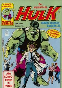 Cover Thumbnail for Der unglaubliche Hulk (Condor, 1980 series) #39