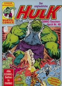 Cover Thumbnail for Der unglaubliche Hulk (Condor, 1980 series) #40