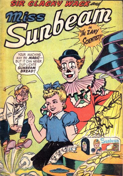 """Cover for Sir Clacky Wack and Little Miss Sunbeam in """"The Zany Scientist!"""" (American Comics Group, 1957 series)"""