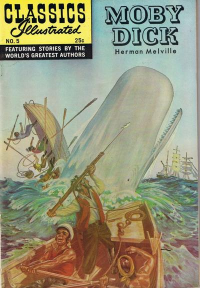 Cover for Classics Illustrated (Gilberton, 1947 series) #5 [HRN 166] - Moby Dick [New Painted Stiff Cover]