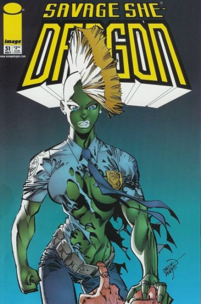 Cover for Savage Dragon (Image, 1993 series) #51 [Velvet Logo]