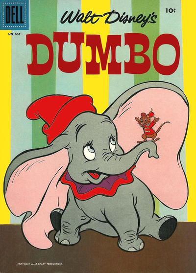 Cover for Four Color (Dell, 1942 series) #668 - Walt Disney's Dumbo [Black Dell Seal Variant]