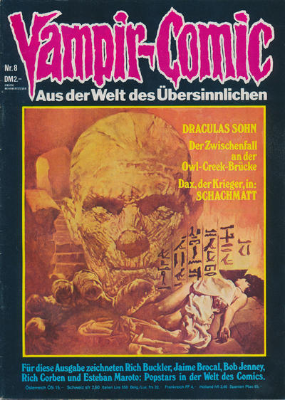 Cover for Vampir-Comic (Pabel Verlag, 1974 series) #8