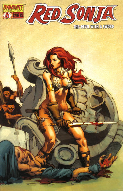 Cover for Red Sonja (Dynamite Entertainment, 2005 series) #6 [Fiery Red Foil High End Edition]