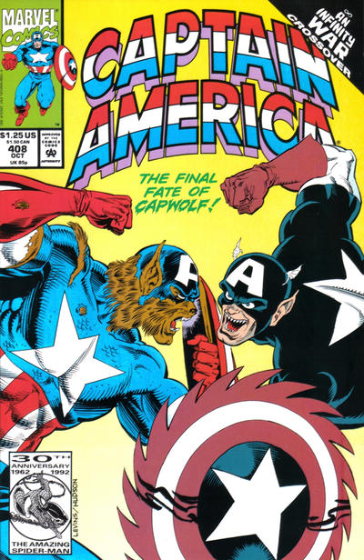 Cover for Captain America (Marvel, 1968 series) #408 [Newsstand Edition]