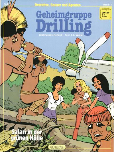 Cover for Detektive, Gauner und Agenten (Egmont Ehapa, 1982 series) #14 - Geheimgruppe Drilling - Safari in der grünen Hölle