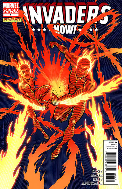 Cover for Invaders Now! (Marvel, 2010 series) #1 [Variant Edition - Human Torch and Toro]