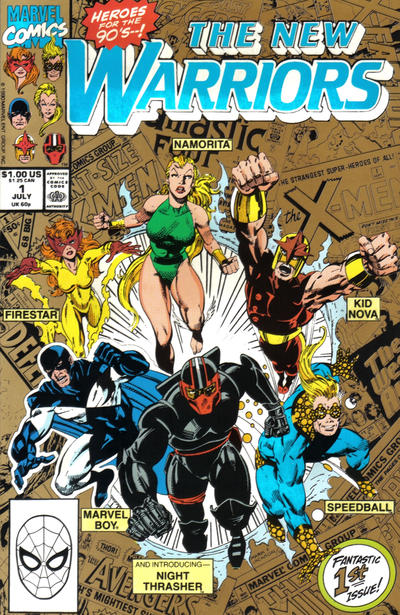 """Cover for The New Warriors (Marvel, 1990 series) #1 [2nd Printing """"Gold""""]"""