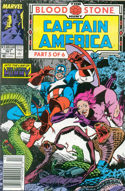 Cover for Captain America (Marvel, 1968 series) #361 [Newsstand Edition]