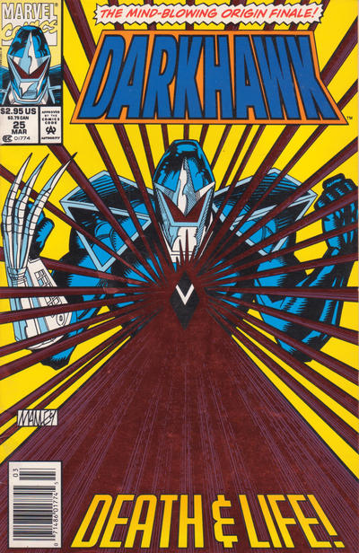 Cover for Darkhawk (Marvel, 1991 series) #25 [Newsstand]