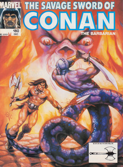 Cover for The Savage Sword of Conan (Marvel, 1974 series) #180 [Direct Edition]