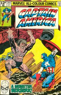 Cover Thumbnail for Captain America (Marvel, 1968 series) #244 [British Price Variant]