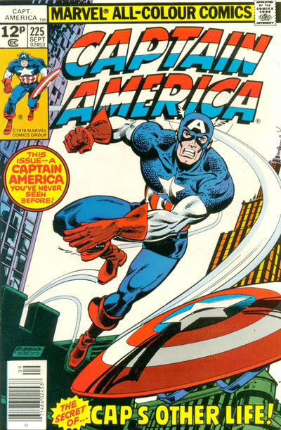 Cover for Captain America (Marvel, 1968 series) #225 [British Price Variant]
