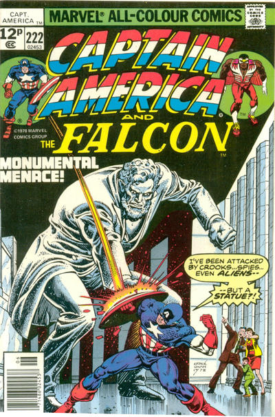 Cover for Captain America (Marvel, 1968 series) #222 [British Price Variant]