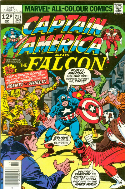 Cover for Captain America (Marvel, 1968 series) #217 [British Price Variant]