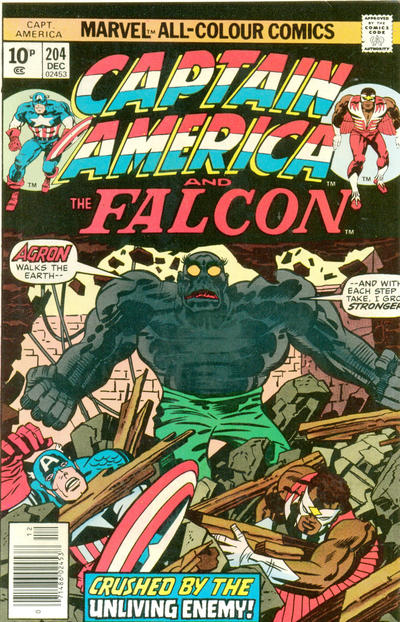 Cover for Captain America (Marvel, 1968 series) #204 [British Price Variant]