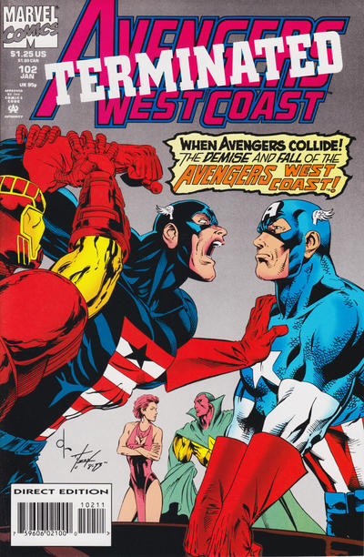 Cover for Avengers West Coast (Marvel, 1989 series) #102 [Direct Edition]