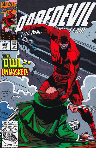 Cover for Daredevil (Marvel, 1964 series) #302 [Newsstand Edition]