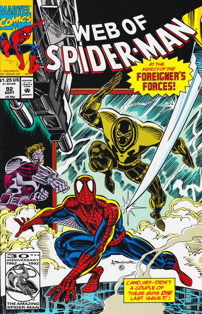 Cover for Web of Spider-Man (Marvel, 1985 series) #92 [Direct]