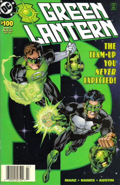 Cover for Green Lantern (DC, 1990 series) #100 [Hal Jordan & Kyle Rayner] [Direct Sales Edition]